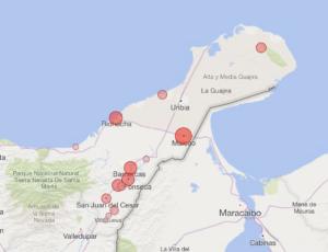Mapa de La Guajira donde se reportan los casos de Covid-19 por municipios en población indígena.